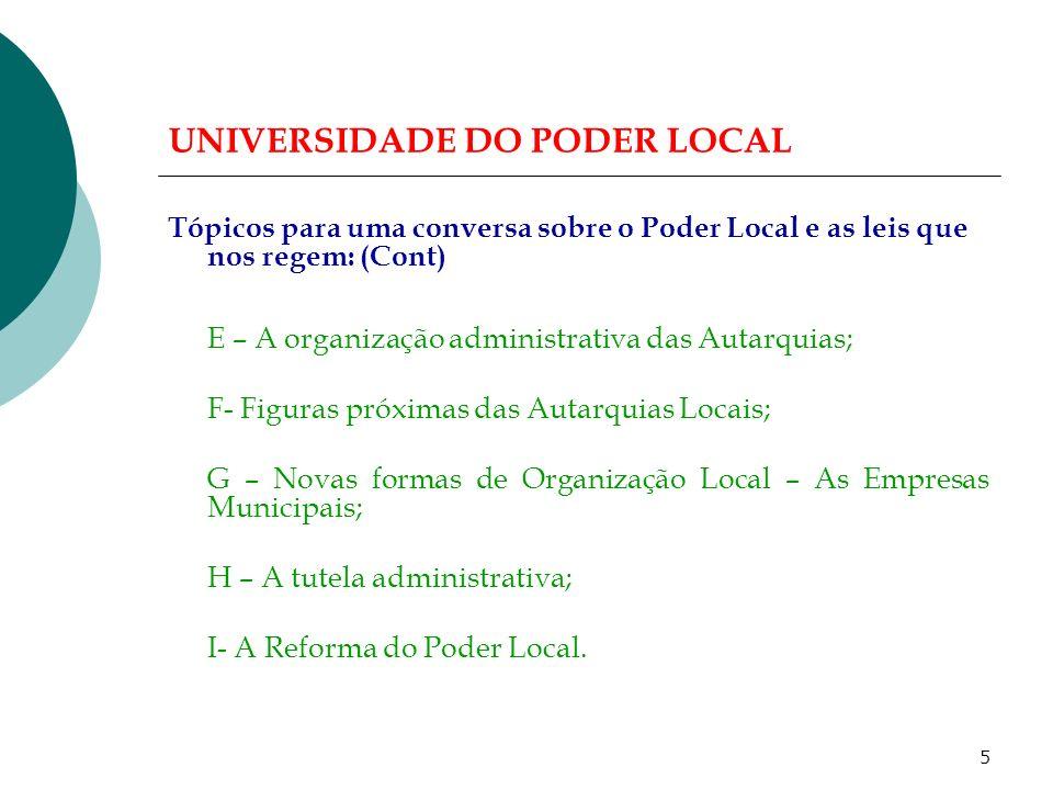 4 UNIVERSIDADE DO PODER LOCAL Tópicos para uma conversa sobre o Poder Local e as leis que nos regem: A- O direito autárquico: Notas prévias.