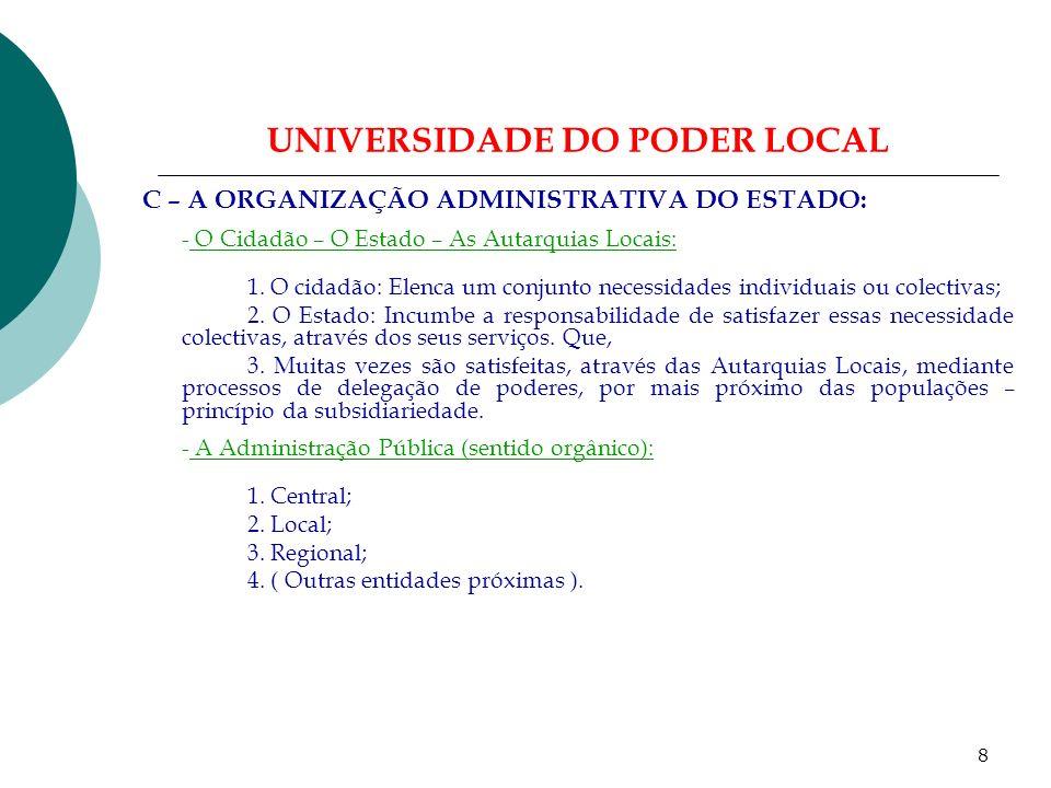7 UNIVERSIDADE DO PODER LOCAL B – O DIREITO AUTÁRQUICO: - Principais diplomas legais reguladores da actividade autárquica: 1.