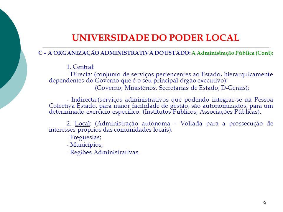 8 UNIVERSIDADE DO PODER LOCAL C – A ORGANIZAÇÃO ADMINISTRATIVA DO ESTADO: - O Cidadão – O Estado – As Autarquias Locais: 1.