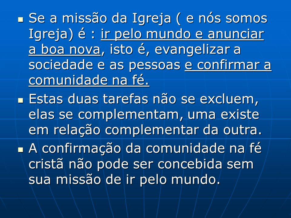 Se a missão da Igreja ( e nós somos Igreja) é : ir pelo mundo e anunciar a boa nova, isto é, evangelizar a sociedade e as pessoas e confirmar a comunidade na fé.