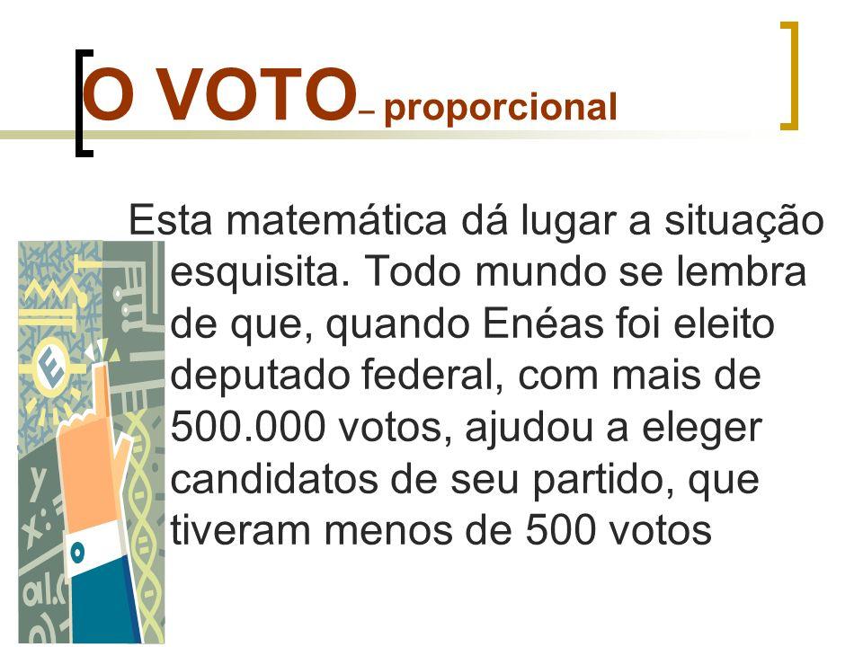 O VOTO – proporcional Esta matemática dá lugar a situação esquisita. Todo mundo se lembra de que, quando Enéas foi eleito deputado federal, com mais d