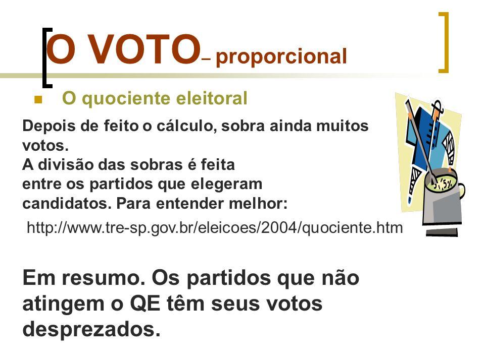 O VOTO – proporcional O quociente eleitoral Depois de feito o cálculo, sobra ainda muitos votos. A divisão das sobras é feita entre os partidos que el