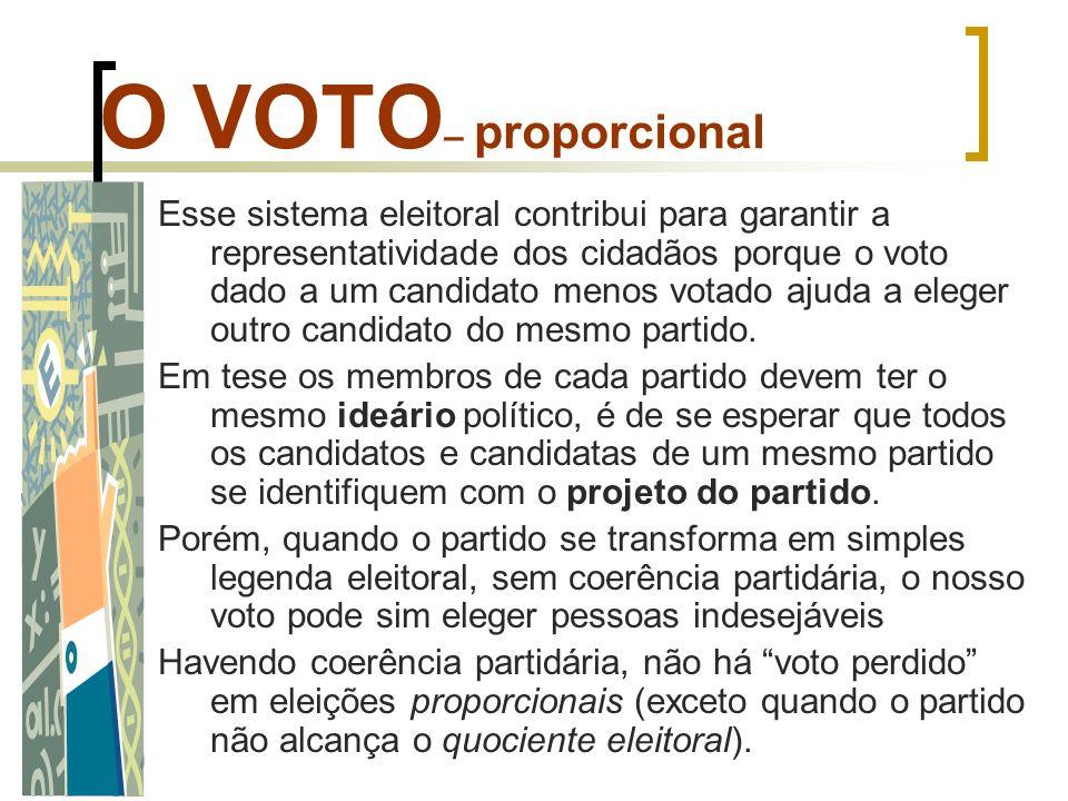 O VOTO – proporcional Esse sistema eleitoral contribui para garantir a representatividade dos cidadãos porque o voto dado a um candidato menos votado