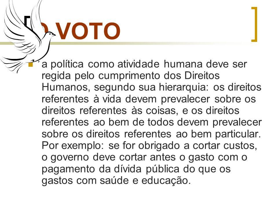 O VOTO a política como atividade humana deve ser regida pelo cumprimento dos Direitos Humanos, segundo sua hierarquia: os direitos referentes à vida d