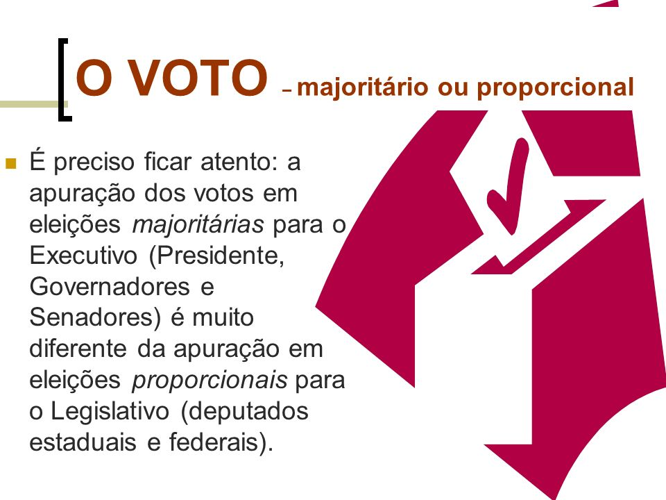O VOTO – majoritário Quando se trata de eleger o presidente ou governador, os candidatos disputam uma única vaga, sendo eleito quem obtiver a maioria dos votos; por isso, é uma eleição majoritária 112112 +
