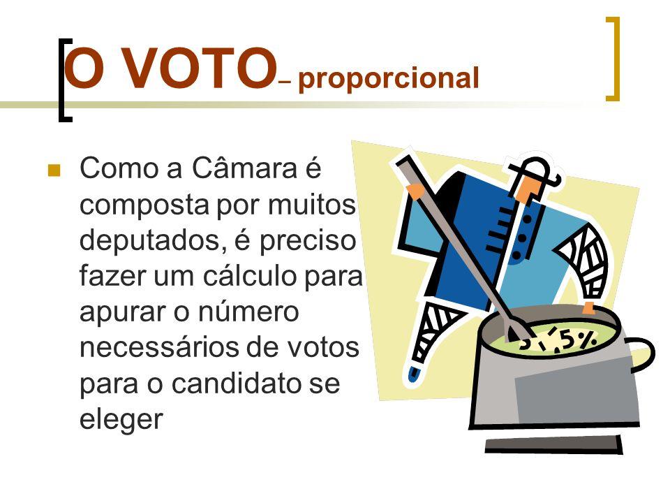 O VOTO – proporcional Este cálculo visa apurar o quociente eleitoral: divide-se o número de votos válidos pelo número de lugares na Câmara Federal ou Assembléias Legislativas.