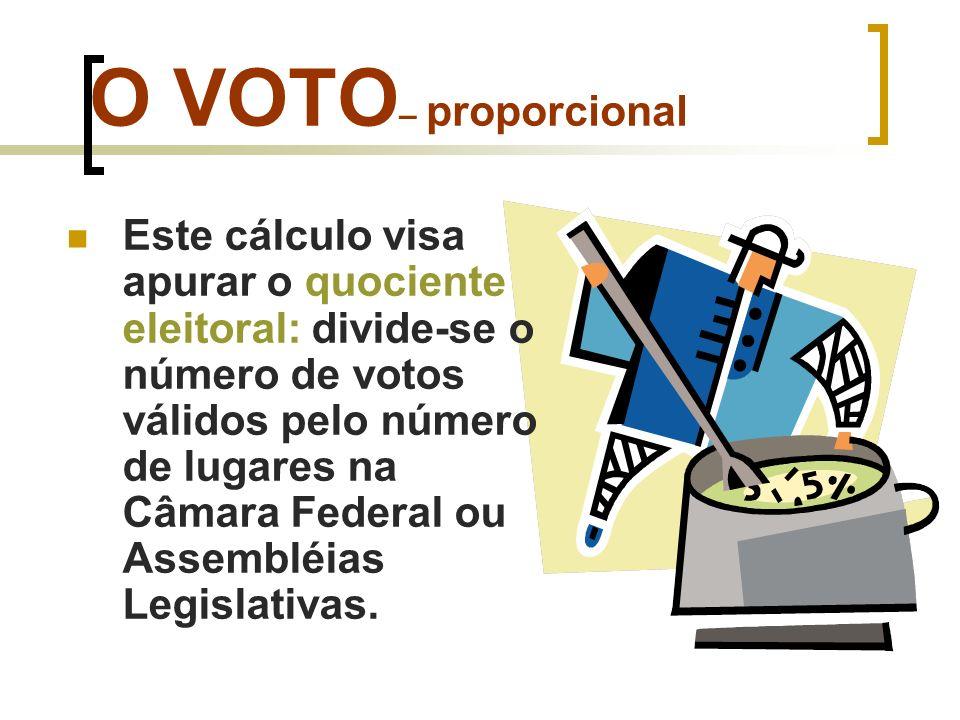 O VOTO – proporcional O quociente eleitoral em São Paulo São Paulo tem aproximadamente 32 milhões de eleitores (TSE-2010) Na eleição podemos ter algo entre 25.000.000 votos válidos Número de cadeiras na Câmara Federal = 70 (B) 25.000.000 70 357.143