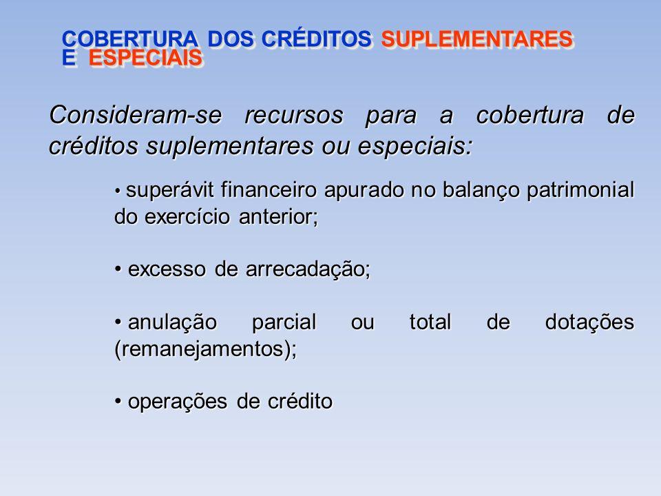 COBERTURA DOS CRÉDITOS SUPLEMENTARES E ESPECIAIS Consideram-se recursos para a cobertura de créditos suplementares ou especiais: superávit financeiro