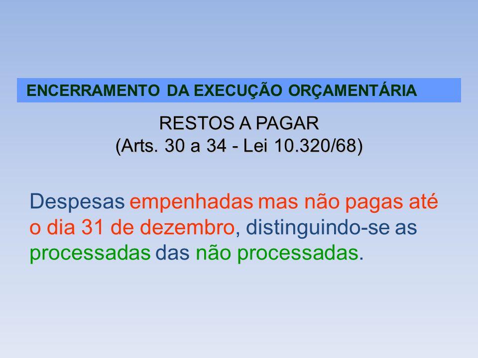ENCERRAMENTO DA EXECUÇÃO ORÇAMENTÁRIA RESTOS A PAGAR (Arts. 30 a 34 - Lei 10.320/68) Despesas empenhadas mas não pagas até o dia 31 de dezembro, disti