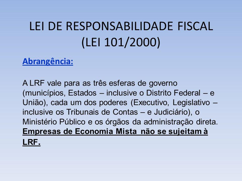 LEI DE RESPONSABILIDADE FISCAL (LEI 101/2000) Abrangência: A LRF vale para as três esferas de governo (municípios, Estados – inclusive o Distrito Fede