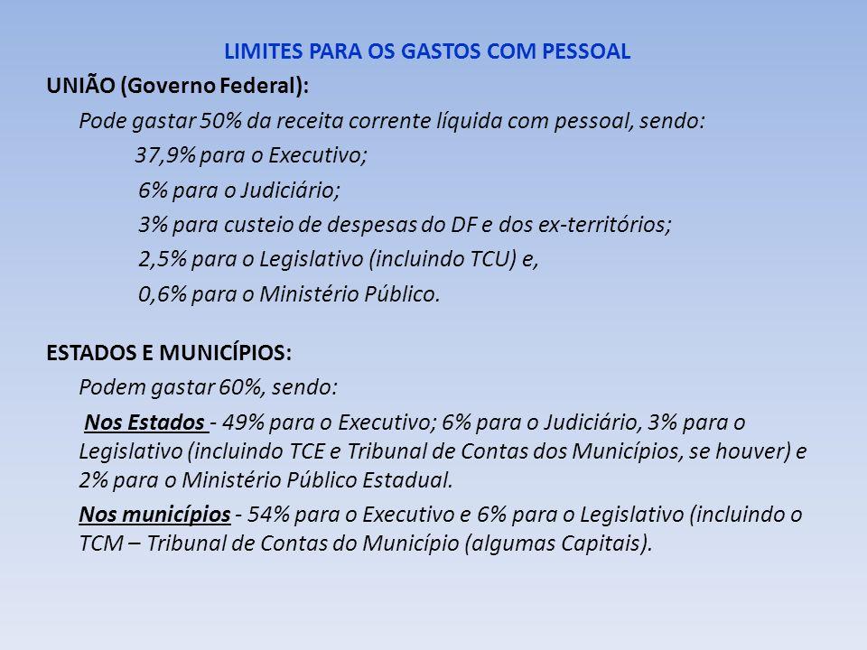 LIMITES PARA OS GASTOS COM PESSOAL UNIÃO (Governo Federal): Pode gastar 50% da receita corrente líquida com pessoal, sendo: 37,9% para o Executivo; 6%