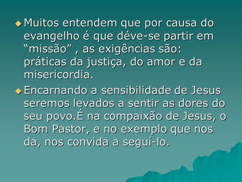 Muitos entendem que por causa do evangelho é que déve-se partir em missão, as exigências são: práticas da justiça, do amor e da misericordia. Muitos e
