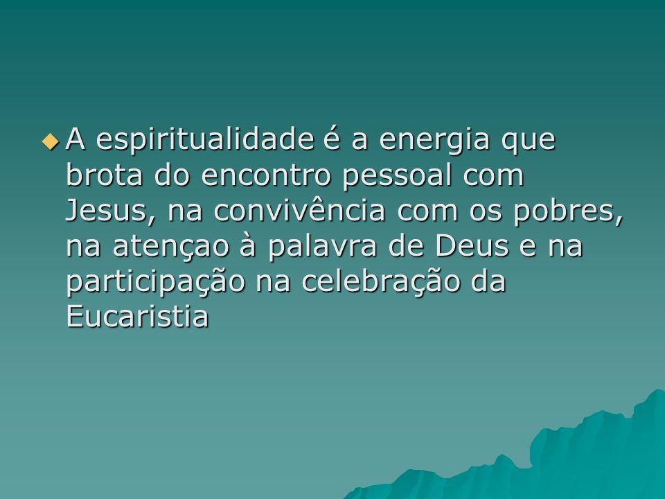 A espiritualidade é a energia que brota do encontro pessoal com Jesus, na convivência com os pobres, na atençao à palavra de Deus e na participação na