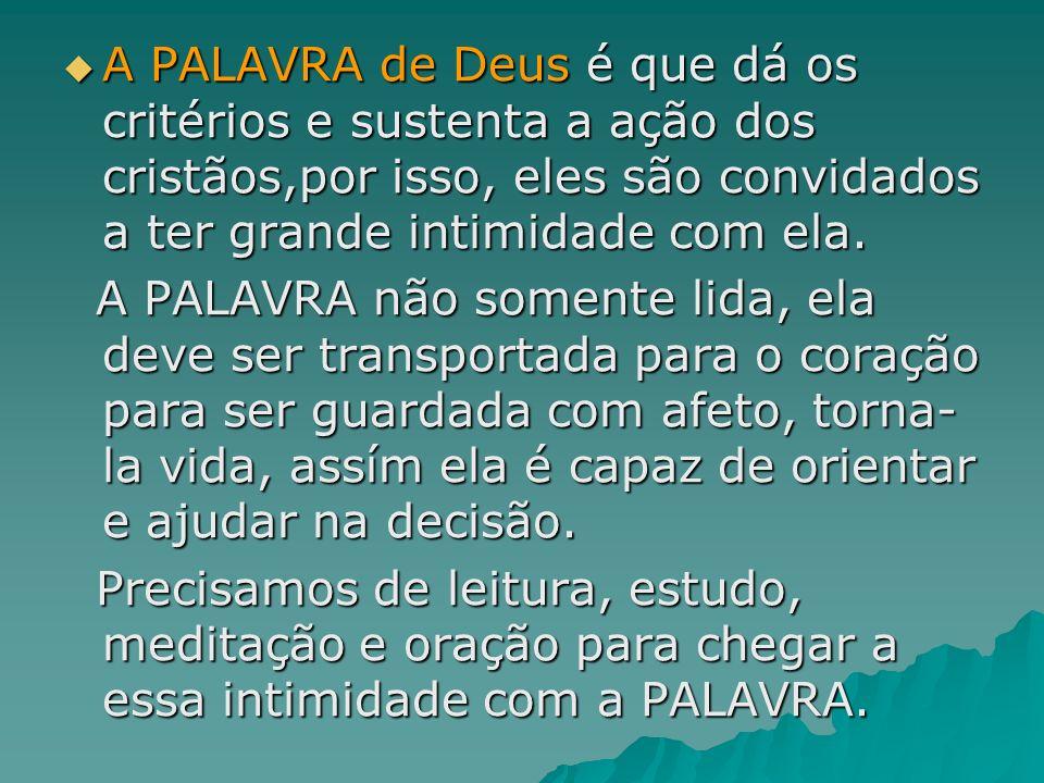 A PALAVRA de Deus é que dá os critérios e sustenta a ação dos cristãos,por isso, eles são convidados a ter grande intimidade com ela. A PALAVRA de Deu