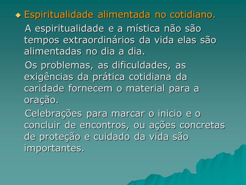 Espiritualidade alimentada no cotidiano. Espiritualidade alimentada no cotidiano. A espiritualidade e a mística não são tempos extraordinários da vida