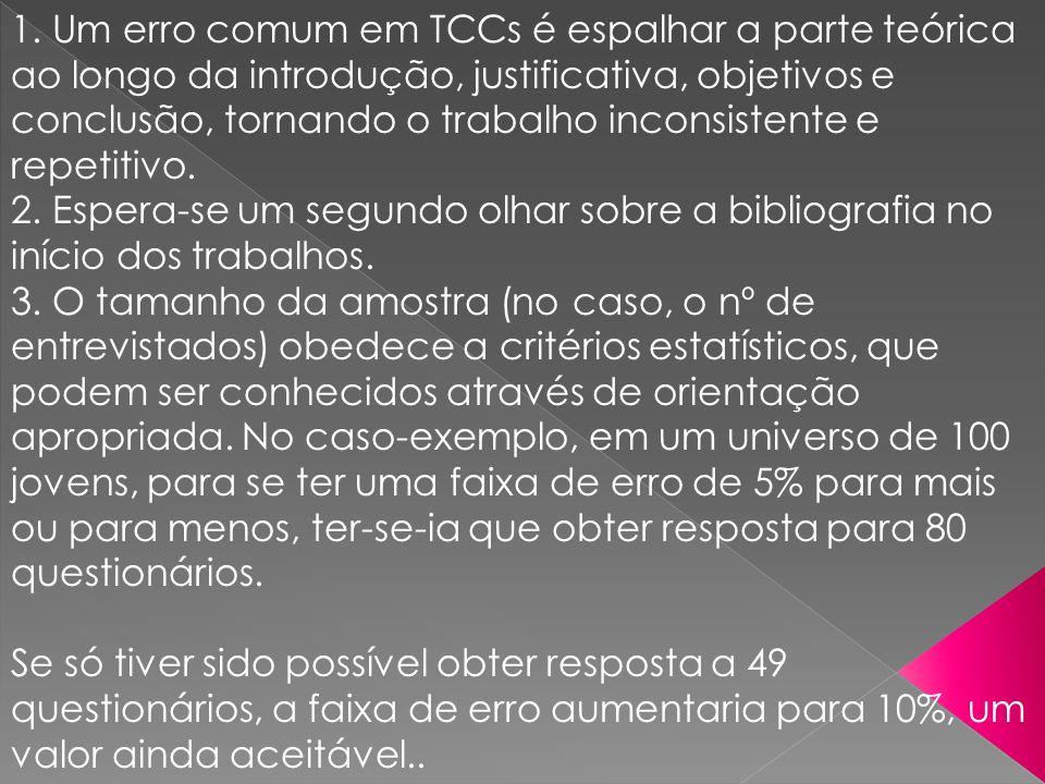 1. Um erro comum em TCCs é espalhar a parte teórica ao longo da introdução, justificativa, objetivos e conclusão, tornando o trabalho inconsistente e