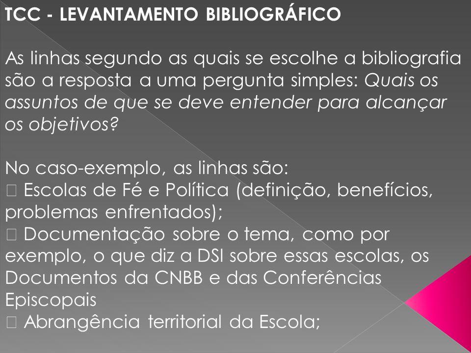TCC - LEVANTAMENTO BIBLIOGRÁFICO As linhas segundo as quais se escolhe a bibliografia são a resposta a uma pergunta simples: Quais os assuntos de que