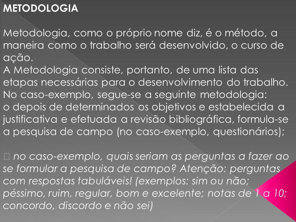 METODOLOGIA Metodologia, como o próprio nome diz, é o método, a maneira como o trabalho será desenvolvido, o curso de ação. A Metodologia consiste, po