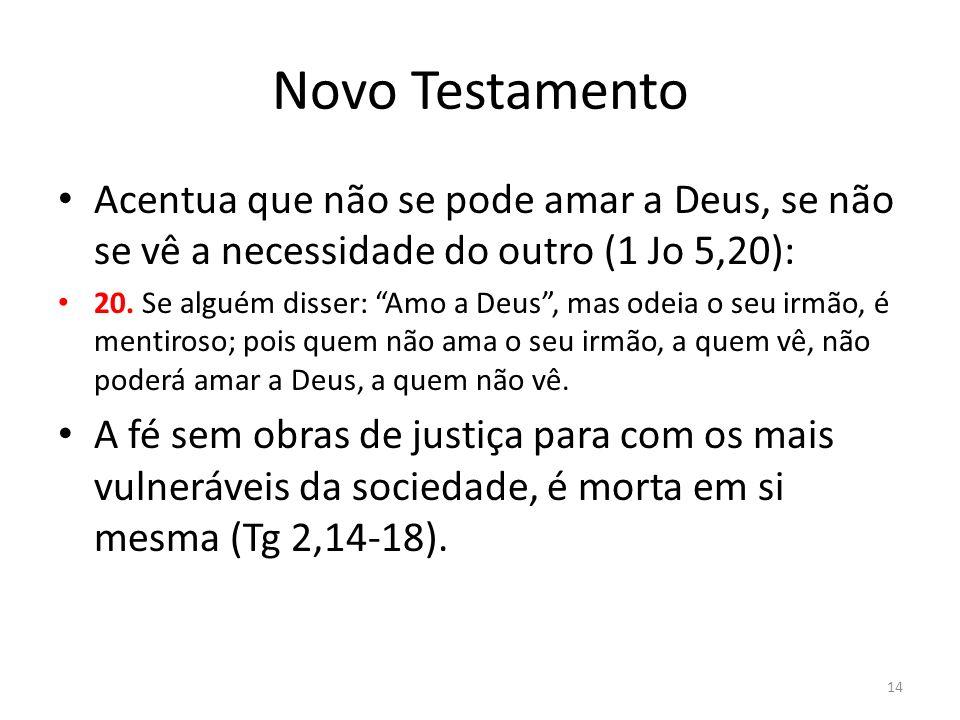 Novo Testamento Acentua que não se pode amar a Deus, se não se vê a necessidade do outro (1 Jo 5,20): 20. Se alguém disser: Amo a Deus, mas odeia o se
