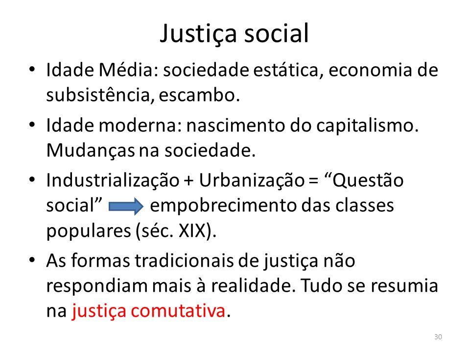 Justiça social Idade Média: sociedade estática, economia de subsistência, escambo. Idade moderna: nascimento do capitalismo. Mudanças na sociedade. In