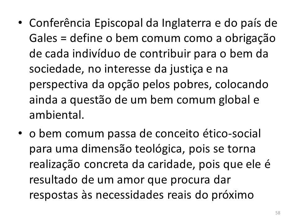 Conferência Episcopal da Inglaterra e do país de Gales = define o bem comum como a obrigação de cada indivíduo de contribuir para o bem da sociedade,