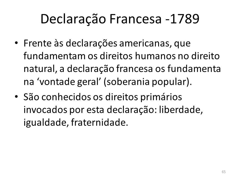 Declaração Francesa -1789 Frente às declarações americanas, que fundamentam os direitos humanos no direito natural, a declaração francesa os fundament