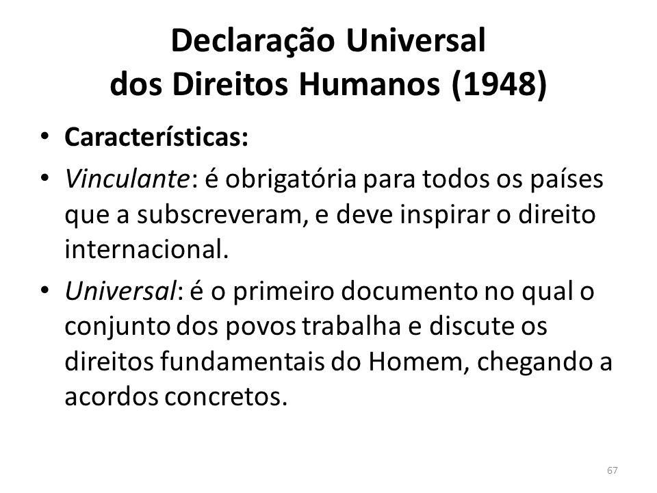 Declaração Universal dos Direitos Humanos (1948) Características: Vinculante: é obrigatória para todos os países que a subscreveram, e deve inspirar o