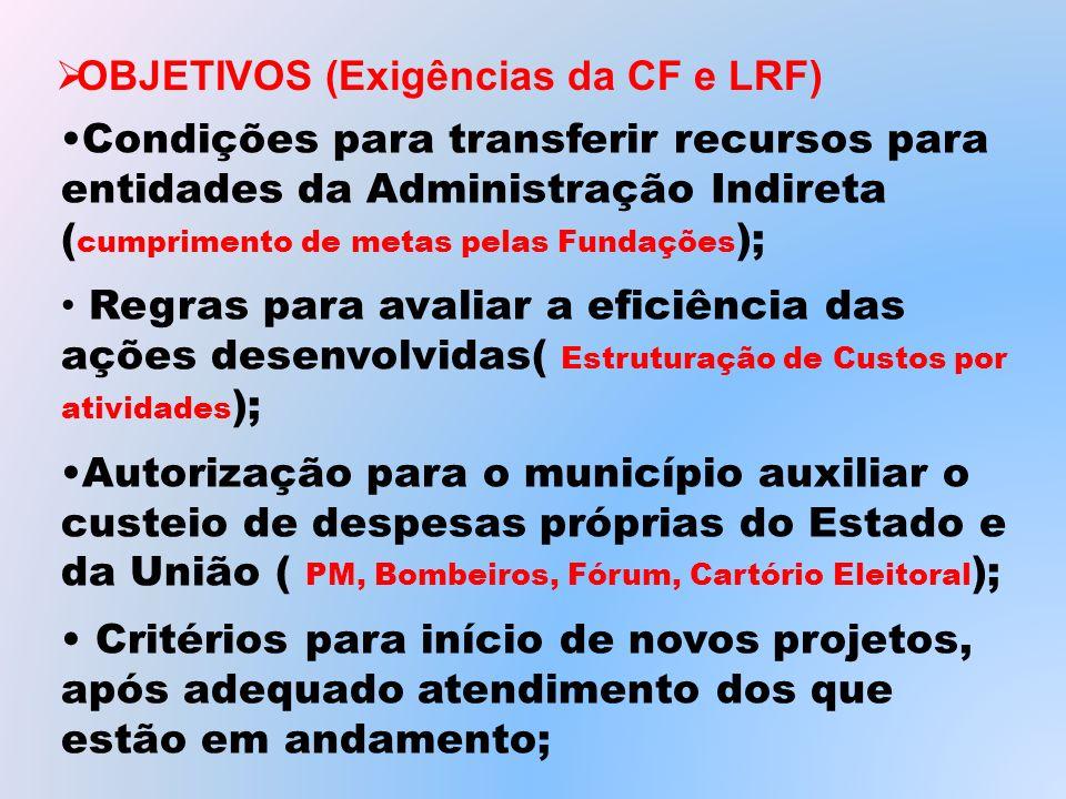 Condições para transferir recursos para entidades da Administração Indireta ( cumprimento de metas pelas Fundações ); Regras para avaliar a eficiência