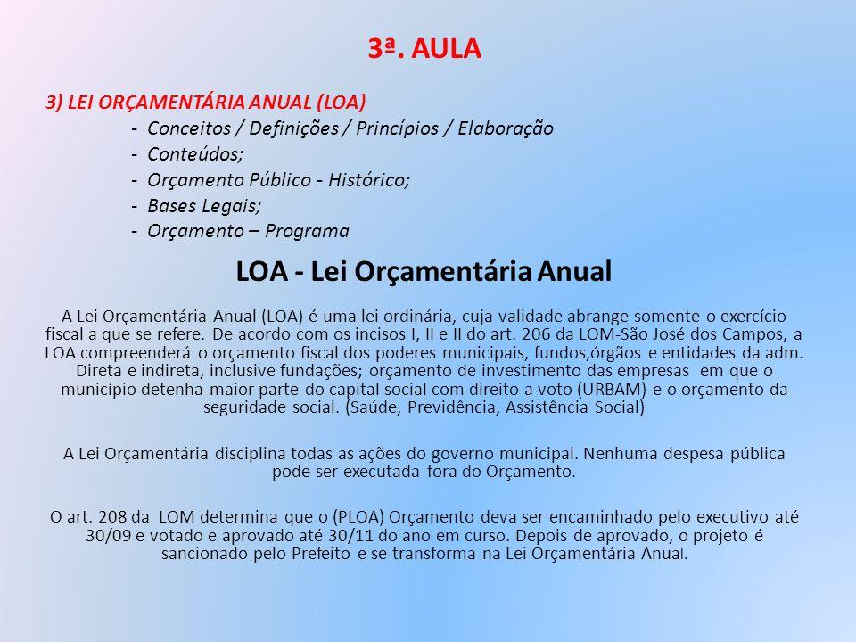 3ª. AULA LOA - Lei Orçamentária Anual A Lei Orçamentária Anual (LOA) é uma lei ordinária, cuja validade abrange somente o exercício fiscal a que se re