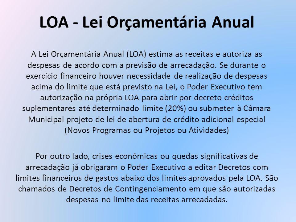 LOA - Lei Orçamentária Anual A Lei Orçamentária Anual (LOA) estima as receitas e autoriza as despesas de acordo com a previsão de arrecadação. Se dura