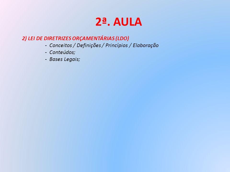 2ª. AULA 2) LEI DE DIRETRIZES ORÇAMENTÁRIAS (LDO) - Conceitos / Definições / Princípios / Elaboração - Conteúdos; - Bases Legais;