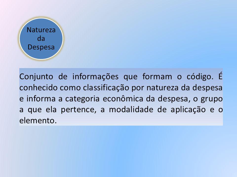Natureza da Despesa Conjunto de informações que formam o código. É conhecido como classificação por natureza da despesa e informa a categoria econômic