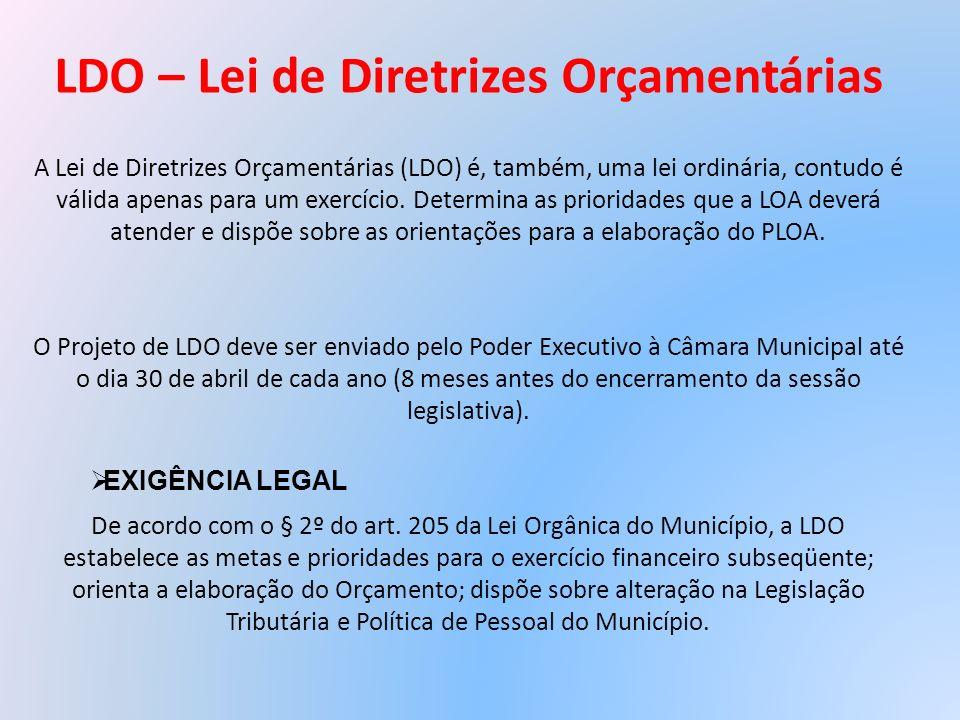 LDO – Lei de Diretrizes Orçamentárias A Lei de Diretrizes Orçamentárias (LDO) é, também, uma lei ordinária, contudo é válida apenas para um exercício.
