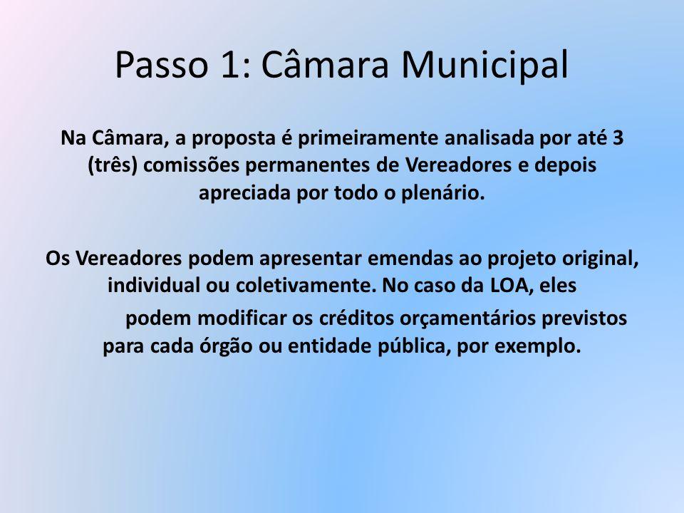 Passo 1: Câmara Municipal Na Câmara, a proposta é primeiramente analisada por até 3 (três) comissões permanentes de Vereadores e depois apreciada por