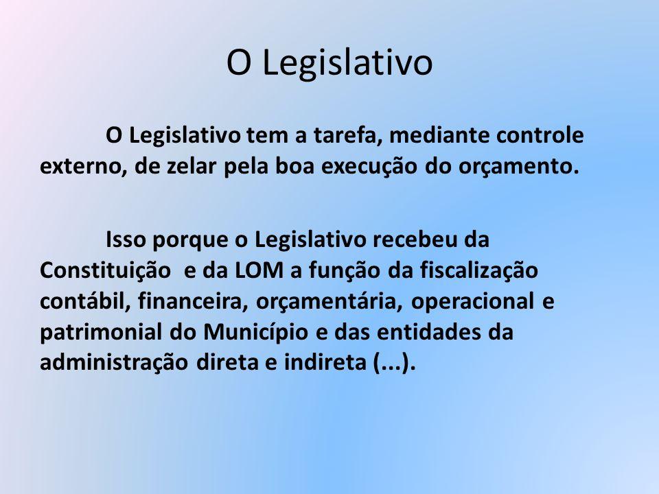 O Legislativo O Legislativo tem a tarefa, mediante controle externo, de zelar pela boa execução do orçamento. Isso porque o Legislativo recebeu da Con