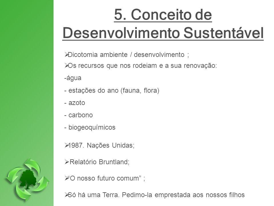 5. Conceito de Desenvolvimento Sustentável Dicotomia ambiente / desenvolvimento ; Os recursos que nos rodeiam e a sua renovação: -água - estações do a