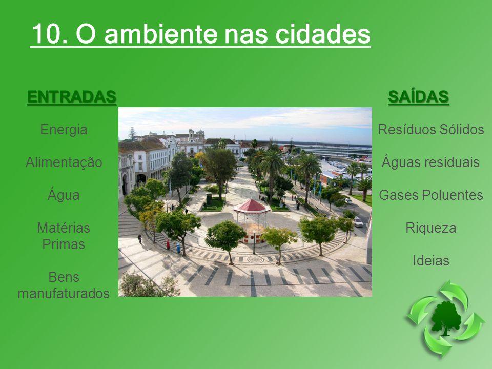10. O ambiente nas cidades ENTRADASSAÍDAS Energia Alimentação Água Matérias Primas Bens manufaturados Resíduos Sólidos Águas residuais Gases Poluentes
