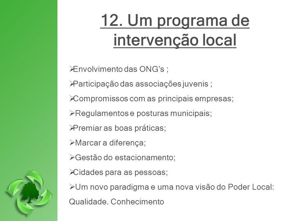 12. Um programa de intervenção local Envolvimento das ONGs ; Participação das associações juvenis ; Compromissos com as principais empresas; Regulamen