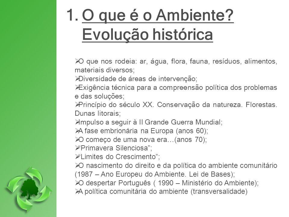 1.O que é o Ambiente? Evolução histórica O que nos rodeia: ar, água, flora, fauna, resíduos, alimentos, materiais diversos; Diversidade de áreas de in