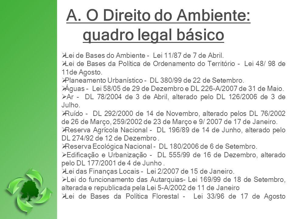 A. O Direito do Ambiente: quadro legal básico Lei de Bases do Ambiente - Lei 11/87 de 7 de Abril. Lei de Bases da Política de Ordenamento do Territóri