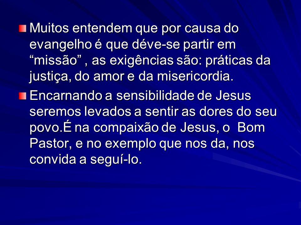 Muitos entendem que por causa do evangelho é que déve-se partir em missão, as exigências são: práticas da justiça, do amor e da misericordia. Encarnan