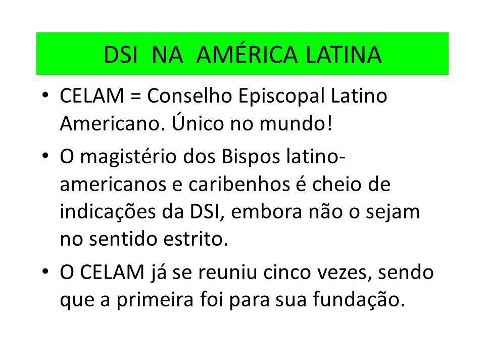 DSI NA AMÉRICA LATINA CELAM = Conselho Episcopal Latino Americano. Único no mundo! O magistério dos Bispos latino- americanos e caribenhos é cheio de