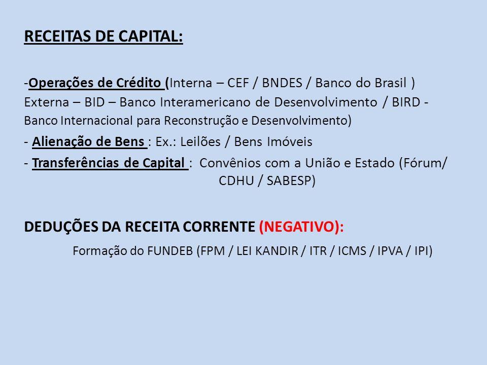RECEITAS DE CAPITAL: -Operações de Crédito (Interna – CEF / BNDES / Banco do Brasil ) Externa – BID – Banco Interamericano de Desenvolvimento / BIRD -