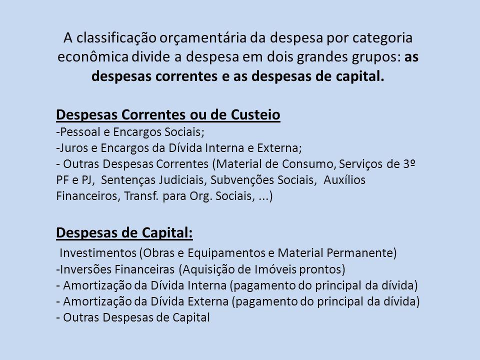 A classificação orçamentária da despesa por categoria econômica divide a despesa em dois grandes grupos: as despesas correntes e as despesas de capita