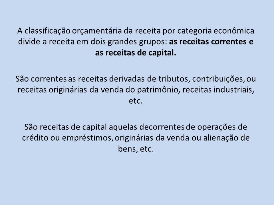 A classificação orçamentária da receita por categoria econômica divide a receita em dois grandes grupos: as receitas correntes e as receitas de capita
