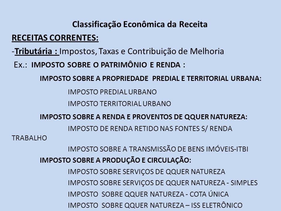 Classificação Econômica da Receita RECEITAS CORRENTES: -Tributária : Impostos, Taxas e Contribuição de Melhoria Ex.: IMPOSTO SOBRE O PATRIMÔNIO E REND