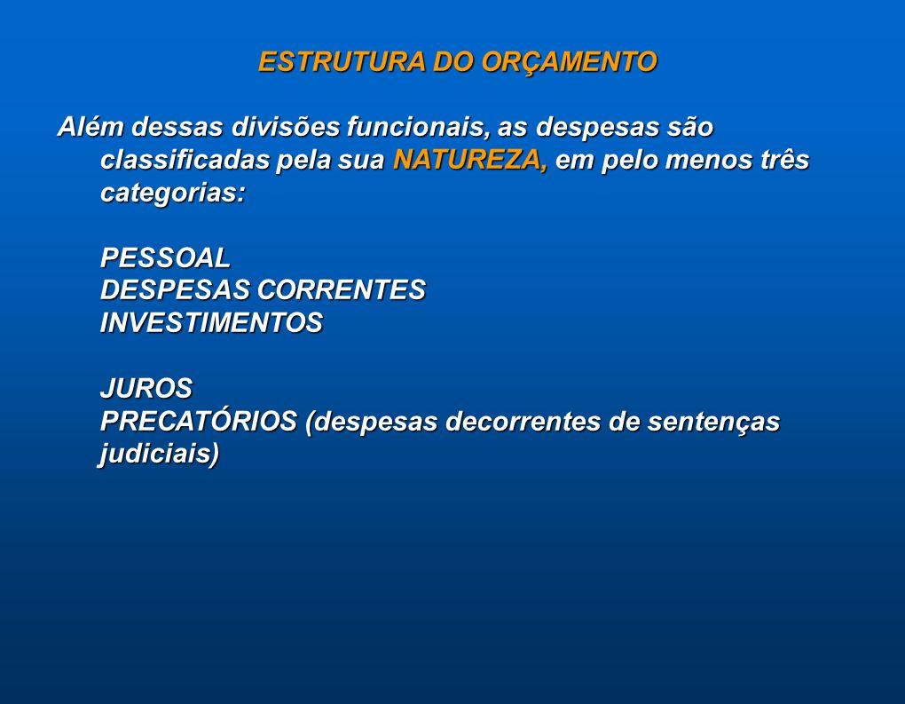 ESTRUTURA DO ORÇAMENTO Além dessas divisões funcionais, as despesas são classificadas pela sua NATUREZA, em pelo menos três categorias: PESSOAL DESPES