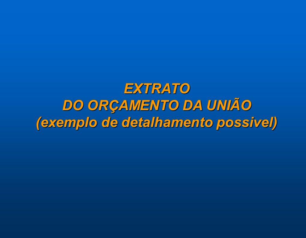 EXTRATO DO ORÇAMENTO DA UNIÃO (exemplo de detalhamento possivel)