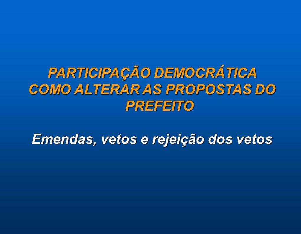 PARTICIPAÇÃO DEMOCRÁTICA COMO ALTERAR AS PROPOSTAS DO PREFEITO Emendas, vetos e rejeição dos vetos