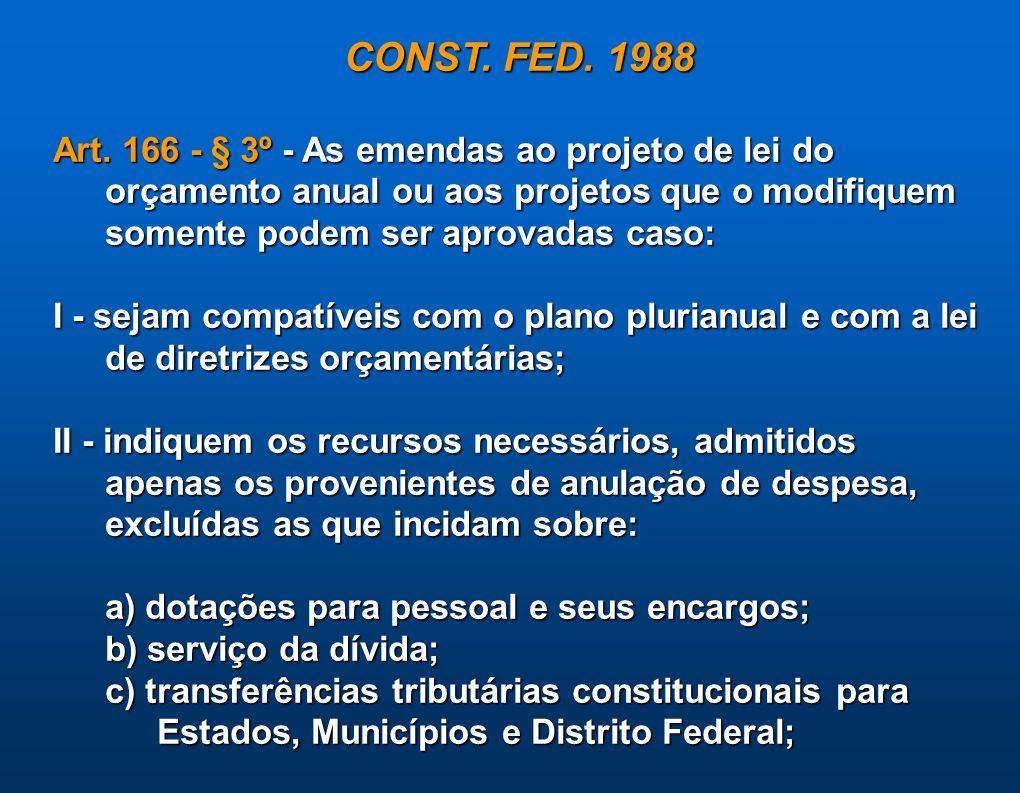 CONST. FED. 1988 Art. 166 - § 3º - As emendas ao projeto de lei do orçamento anual ou aos projetos que o modifiquem somente podem ser aprovadas caso: